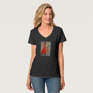 Camiseta Senhora no vermelho com rena