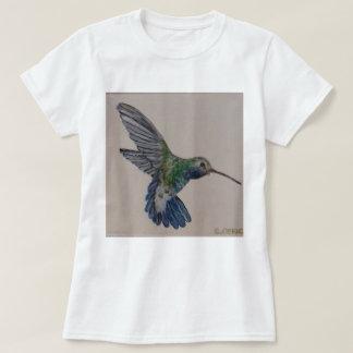 Camiseta Senhoras azuis e tshirt verde do colibri