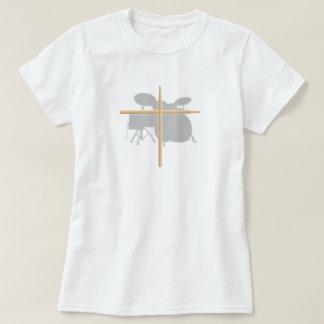 Camiseta Senhoras cristãs da cruz da vara do cilindro do
