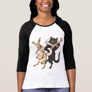 Camiseta Senhoras do coelho & do gato 3/4 de Raglan da luva
