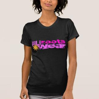 Camiseta senhoras mindinhos do preto do filirootswear