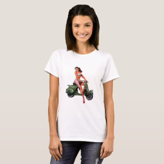 Camiseta Senhoras verdes da menina do patinete