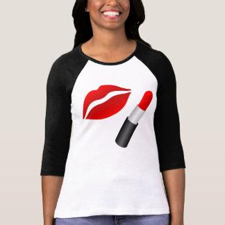 Camiseta Senhoras vermelhas dos lábios do M.U.A. 3/4 de