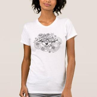 Camiseta Senhorita pequena Luz do sol flores pretas &