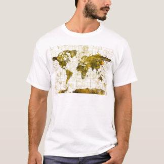 Camiseta sepia da aguarela do mapa do mundo