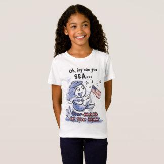 Camiseta Sereia no t-shirt das meninas dos EUA