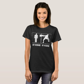 Camiseta Seu marido meu jogador de ténis de mesa do marido