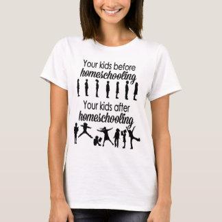 Camiseta Seus miúdos antes e depois de Homeschooling