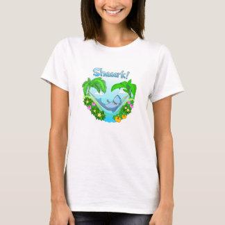 Camiseta Shaaark em um t-shirt do branco das senhoras do