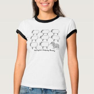 Camiseta Sheepdog inglês velho que reune o t-shirt dos