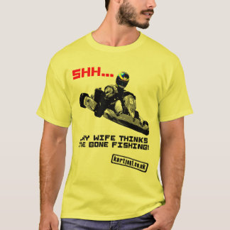 Camiseta Shh… Minha esposa pensa que eu tenho a pesca ida