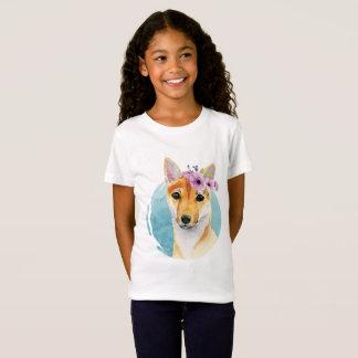 Camiseta Shiba Inu com pintura da aguarela da coroa da flor