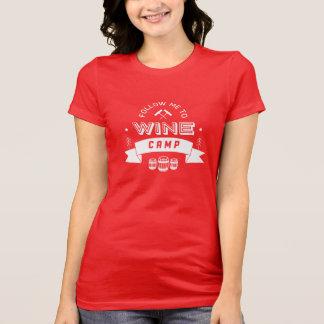 Camiseta Siga-me para wine o acampamento [vermelho]