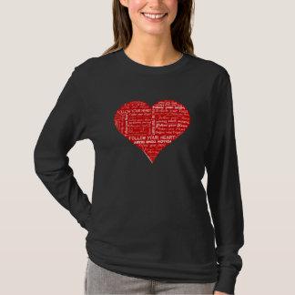 Camiseta Siga seu coração vermelho e branco do coração - do