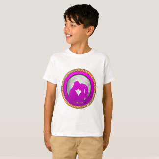 Camiseta Silhueta a beijo outra do rosa do casal dos jovens