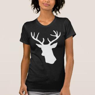 Camiseta Silhueta branca da cabeça dos cervos - t-shirt