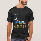 Camiseta Silhueta branca do surfista que surfa a onda