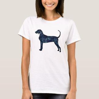 Camiseta Silhueta da aguarela do preto do cão do Coonhound