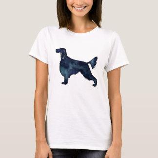 Camiseta Silhueta da aguarela do preto do cão do setter de