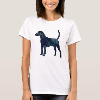 Camiseta Silhueta da aguarela do preto do lebreiro do cão
