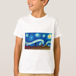 Camiseta Silhueta da skyline de Austin com noite estrelado