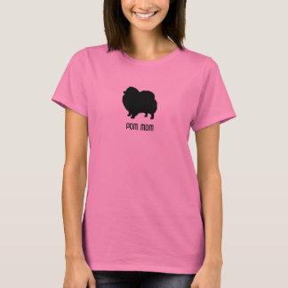 Camiseta Silhueta de Pomeranian - mamã de Pom - texto feito