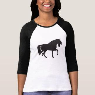 Camiseta Silhueta do cavalo preto & branco