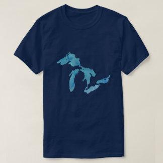 Camiseta Silhueta do esboço do mapa dos grandes lagos