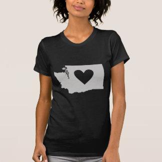 Camiseta Silhueta do estado de Washington do coração