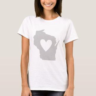 Camiseta Silhueta do estado de Wisconsin do coração