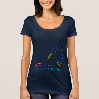 Camiseta Silhueta do gato do arco-íris, texto interno -