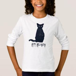 Camiseta Silhueta do gato preto do Dia das Bruxas