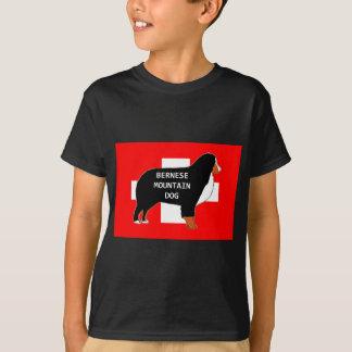 Camiseta silhueta do nome do cão de montanha bernese na