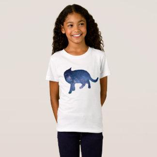 Camiseta Silhueta estrelado do gato da galáxia do céu,