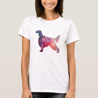 Camiseta Silhueta geométrica do cão do setter inglês - rosa