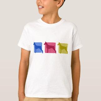 Camiseta Silhuetas coloridas do Pinscher do Doberman