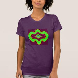 Camiseta SIM Camisa-Mulher-Roxo/rosa/verde/azul/preto