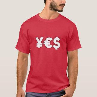 Camiseta SIM (t-shirt do euro- dólar dos ienes)