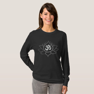 Camiseta Símbolo da flor e do OM de Lotus (branco no design