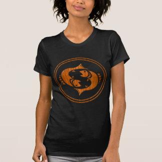 Camiseta Símbolo de madeira cinzelado do zodíaco dos peixes