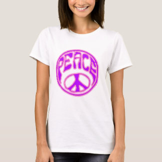Camiseta Símbolo de paz cor-de-rosa de néon