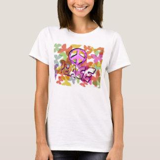 Camiseta Símbolo e borboletas da palavra da paz