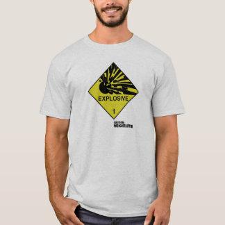 Camiseta Símbolo explosivo. Subtítulo: Cuidado: