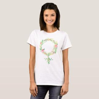 Camiseta Símbolo floral de Venus do feminismo da aguarela