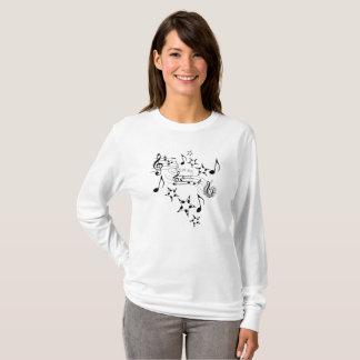 Camiseta Símbolos de música no T longo da luva das meninas