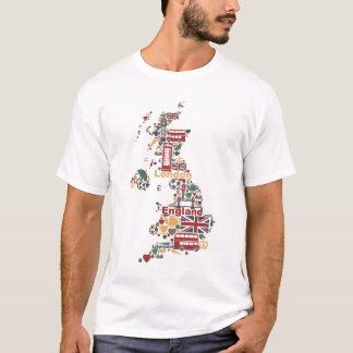 Camiseta Símbolos do mapa de Inglaterra