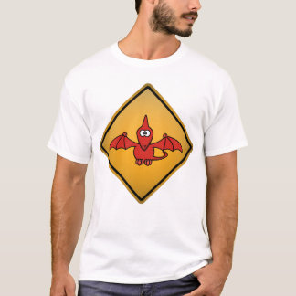 Camiseta Sinal de aviso do Pterodactyl dos desenhos