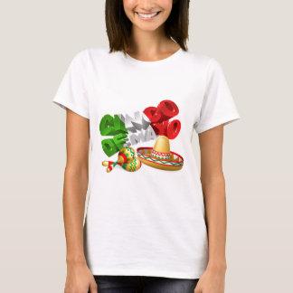 Camiseta Sinal de Cinco De Mayo com Sombrero e Maracas