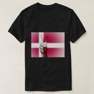 Camiseta Sinal de paz da bandeira de Dinamarca - patriótico