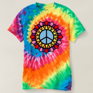 Camiseta Sinal de paz da tintura do laço do T do Hippie